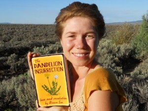 Rivera Sun with her latest book, The Dandelion Insurrection