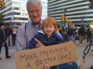 George Lakey with granddaughter at OccupyPhilly. Photo by Ingrid Lakey